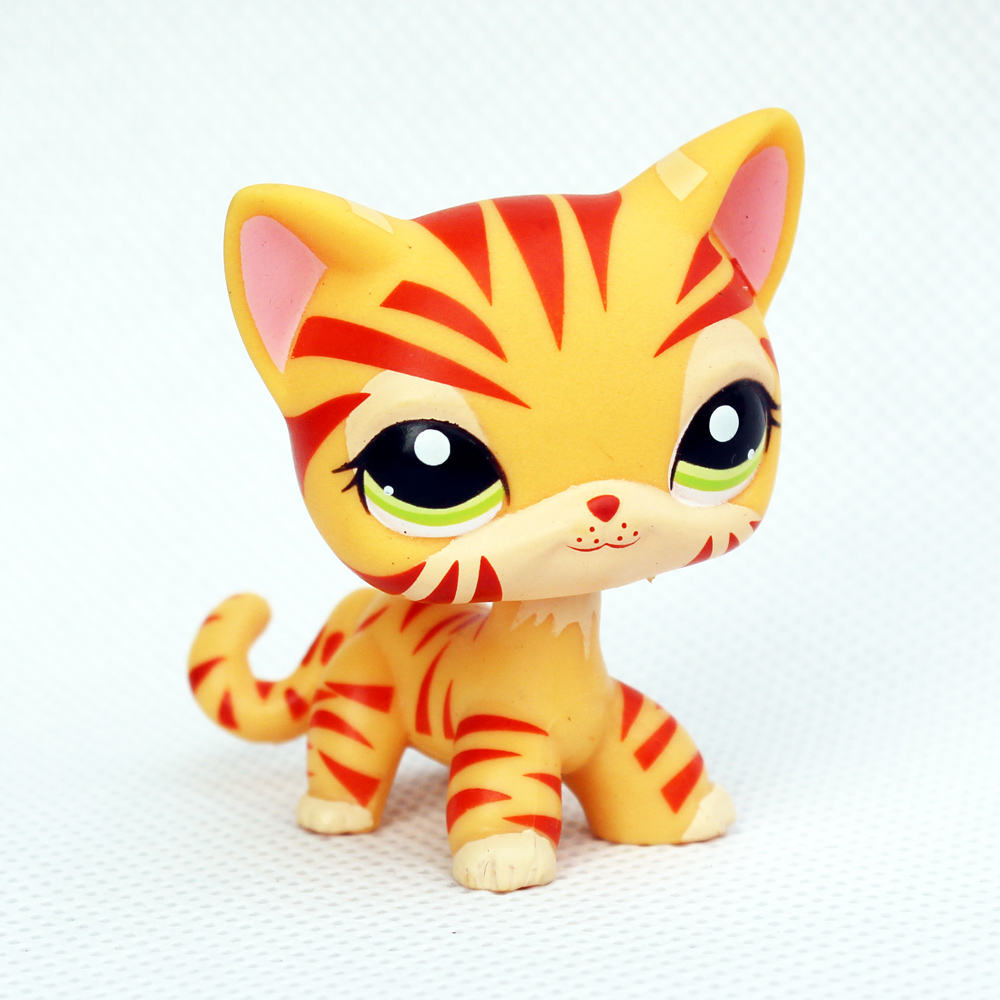 Real Rare Pet Shop Toys Standing #1451 Yellow Short Hair Cat Orange Striped Tiger Kitty Child Gifts