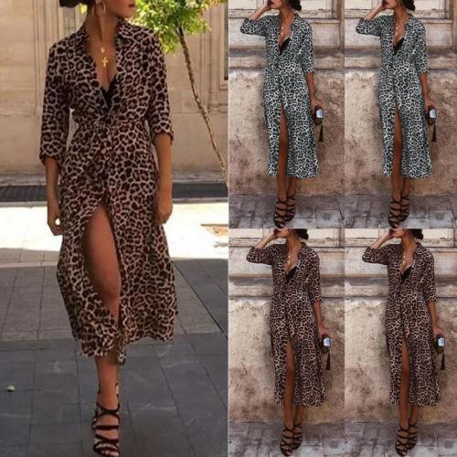 Women Long Sleeve Shirt Maxi Dress Casual Leopard Print V-Neck Slit Belt Dresses Ladies Chic Leopard Fashion Dresses Female jeans con blazer mujer
