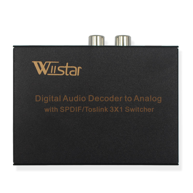 Wiistar Spdif Switch 3x1 Digital To Analog Audi Decoder Optical/Toslink To L/R RCA 3.5mm Stereo Audio With Optical Output Switch