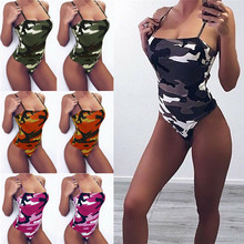 Sleeveless V-neck womens jumpsuit tight-fitting beach bikini camouflage triangle