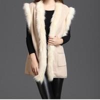 2018 Women Solid Black One Size Faux Fur Vest Slim Long Faux fur Coat Women Artificial Fur Femme Fashion Vest Autumn Long Coat