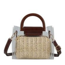 NEW Summer Straw Crossbody Shoulder Bags Women Famous Brands Clear Two Piece Transparent Handbag Clutch Purse