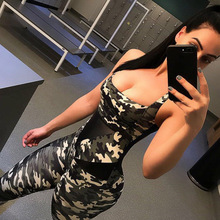 2019 Fashion Sleeveless Army Camouflage Jumpsuit Women Low Cut Sexy Rompers Bodysuit Summer Skinny GYM Blackless Sportsuit Femme