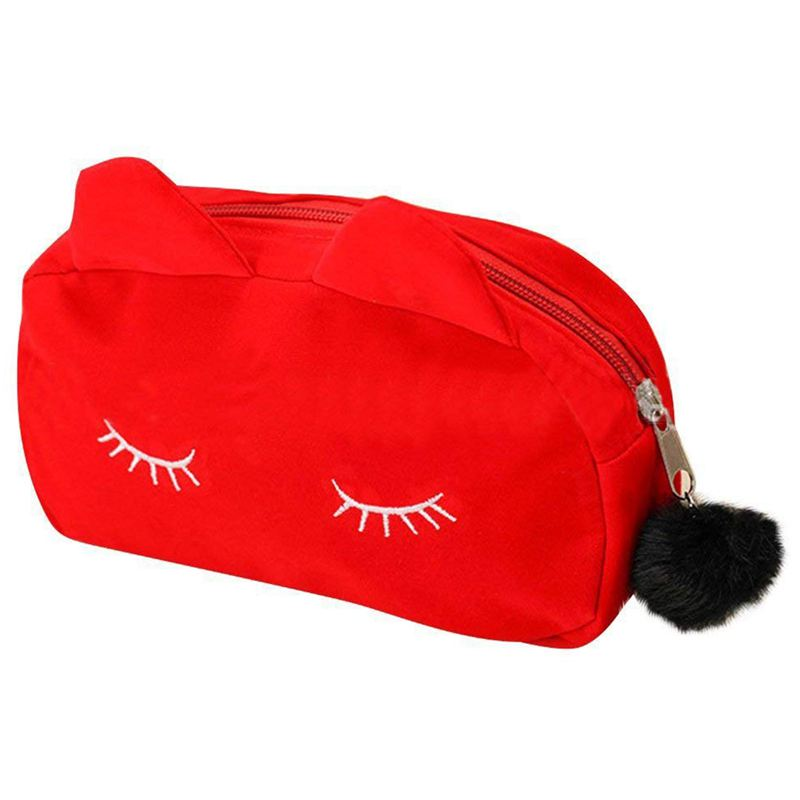Portable Cartoon Pattern Cosmetic Bag Makeup Bags Pen Pencil Pouch Case Red