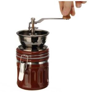 Image 3 - 레트로 스테인레스 스틸 세라믹 수동 커피 콩 그라인더 너트 밀 핸드 그라인딩 도구