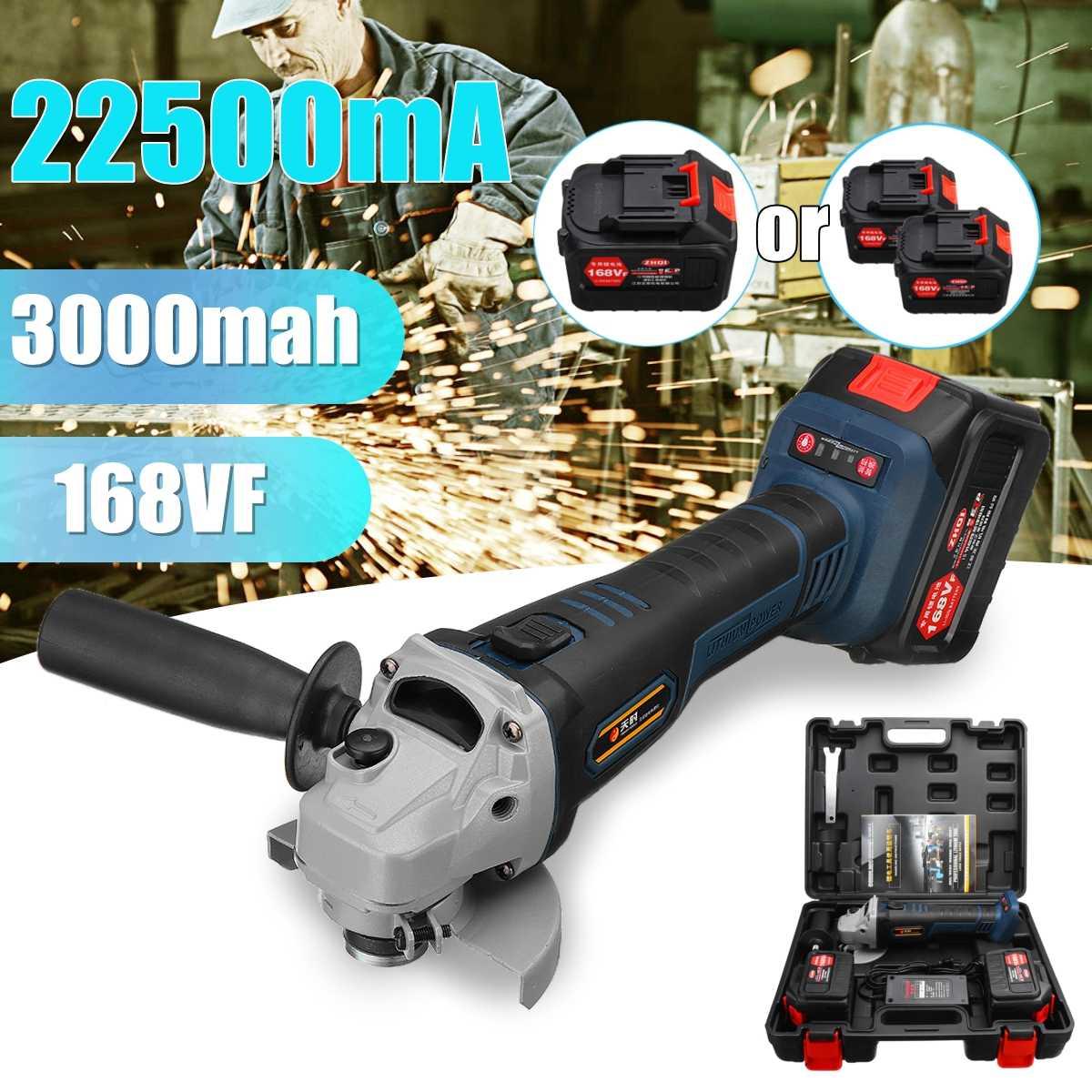 110 v ~ 220 v 168VF 3000 mah 22500mA Sans Fil Électrique Grinder Polisseuse Machine avec 2 Batterie Au Lithium
