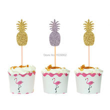 10pcs Gold and Silver Pineapple Cupcake Topper Birthday Wedding Party Supplies Cake Decoration Free Shipping