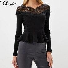 7847e86983c Celmia Women Sexy Off Sleeve Lace Blouse 2018 Autumn Plus Size Long Sleeve  Patchwork Ruffle Shirts
