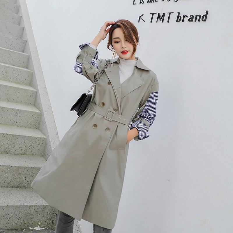 LANMREM 2018 New Korean Girl s Clothes Single Breasted Striped Full Sleeve Turn down Collar Waist