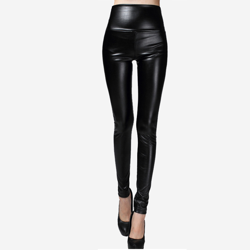 2018 Autumn Winter Women Legging PU Leather Pencil Slim Faux Leather Pants Skinny Fashion Thick Leggin High Waist Leggings Women