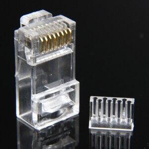 Image 4 - Xintylink rg45 conector de cabo ethernet rj45 tomada cat6 rede rg rj 45 8p8c gato modular 6 utp unshielded jack banhado a ouro 50 peças