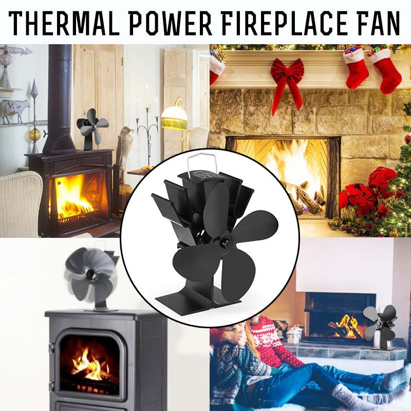 4 blades heat powered stove fan with thermometer log wood burner rh aliexpress com