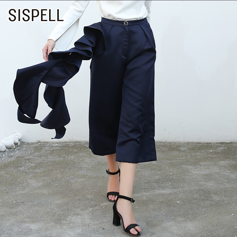 SISPELL 2019 Spring Ruffles Women's   Pants   Female High Waist Casual Loose   Wide     Leg     Pants   For Women Fashion Elegant Clothes New