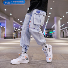 Mens Jeans 2019 Summer New Loose Solid Color Hip Hop Long Japanese Personality Harem Pants Youth Casual Clothing
