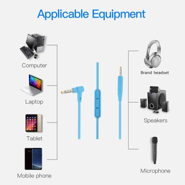 audio cable with mic volume control 2 5mm male to 3 5mm male wire cord  replacement for bose qc25 headphone earphone accessories