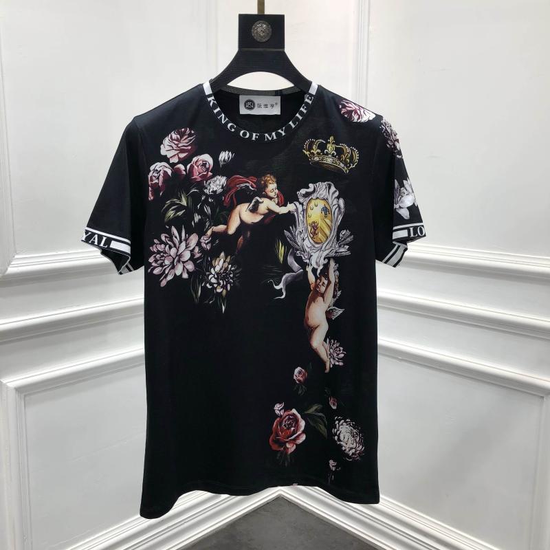 2019 Весна 19ss новые модные футболки Ангел цветок цветочные Корона печать футболка для мужчин хлопок известный бренд одежда Топ Ретро