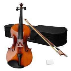 16 Inch 4/4 Full Size Acoustic Viola Set Retro Color Solid Basswood Viola with Carrying Case Bow Rosin Kit