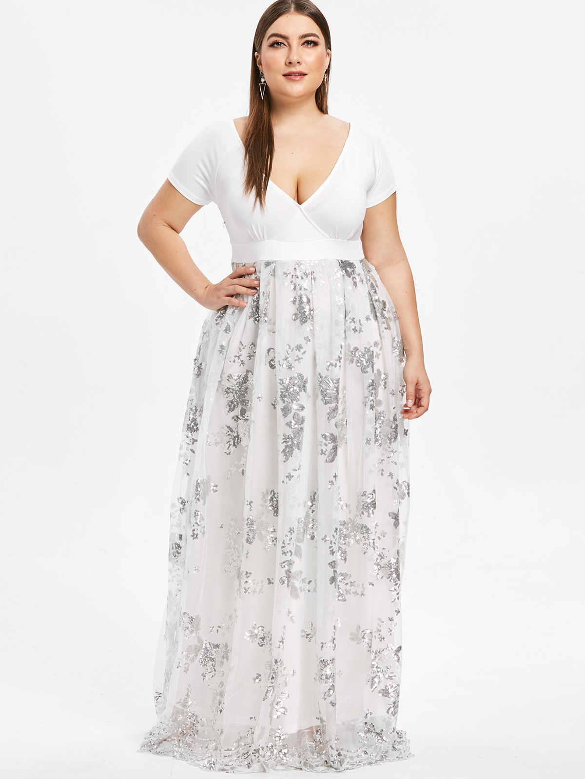 ... Wipalo Plus Size 5XL Dress Women Deep V Neck Short Sleeves Floral  Sparkly Maxi Dresses Elegant ... 49c989e48ef2