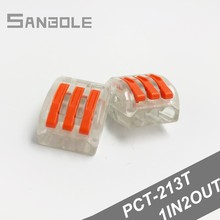 цена на PCT-213T Copper Wire connector Fast Parallelizer Parallel Conductor Terminal Block cable plug Universal Compact (100PCS)