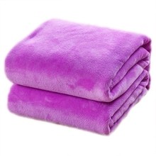 SOFT-70*100cm Sofa/air/bedding Throw Solid Color and Double Faced Travel Flannel Blanket purple
