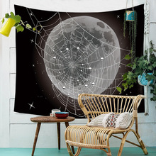 Night Sky Psychedelic Mandala Tapestry Wall Hanging Moon Spiderweb Forest Landscape Carpet Throw Yoga Cloth Tapestries