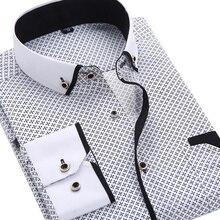 Мужская модная повседневная рубашка с длинным рукавом и принтом, приталенная мужская деловая рубашка, брендовая мужская мягкая удобная одежда