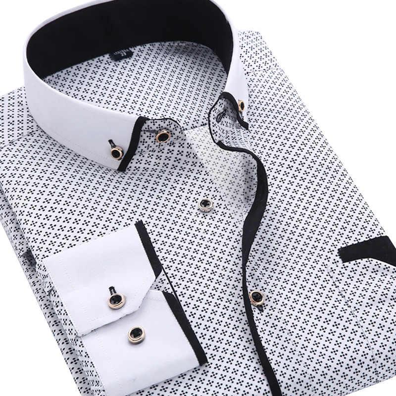 Мужская повседневная рубашка с длинным рукавом, модная рубашка в деловом стиле, брендовая мягка и удобная рубашка с рисунком, 2019