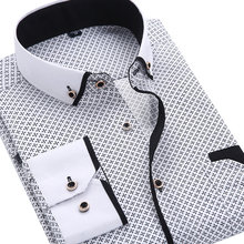 2019 Men Fashion Casual Long Sleeved Printed shirt Slim Fit Male Social Business Dress Shirt Brand Men Clothing Soft Comfortable(China)