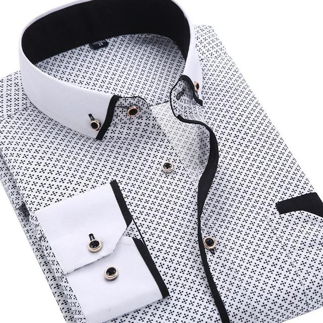 2019 Homens Moda Casual camisa de Manga Comprida Impressa Slim Fit Negócios Vestido de Camisa Social Masculina Marca de Roupa Dos Homens Macio E Confortável