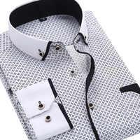 2019 di Modo Degli Uomini Casual Lungo A Maniche Lunghe Stampata camicia Slim Fit Camicia di Vestito Da Affari Degli Uomini di Marca di Abbigliamento Maschile Sociale Morbida E Confortevole