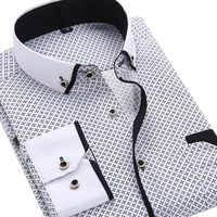 2019 moda masculina casual manga comprida impresso camisa ajuste fino masculino vestido de negócios social camisa marca roupas masculinas macio confortável