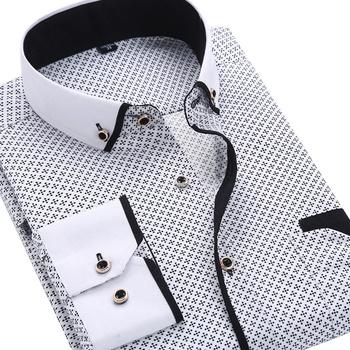 2020 moda męska Casual koszula na długi rękaw z nadrukiem Slim Fit męska formalna sukienka biznesowa koszula marka mężczyźni odzież miękka wygodna tanie i dobre opinie QISHA Poliester Koszule Pełna Skręcić w dół kołnierz Pojedyncze piersi REGULAR Long Sleeved Shirt Suknem Na co dzień