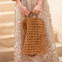 Ins Explosion Models Hand-knitted Girls From Natural Wood Beads Bag Shopping Bag Retro Bamboo Bag Beach Bag