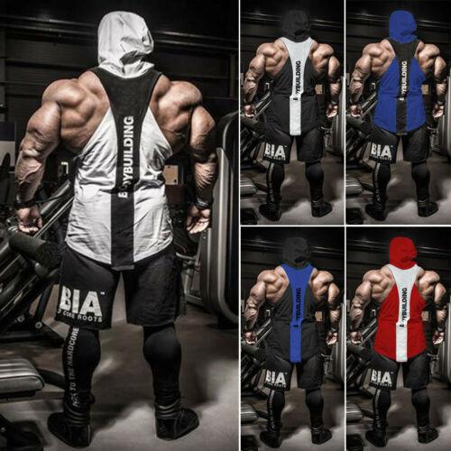 Hot Men Gym Clothing Bodybuilding Stringer Hoodie Tank Top Muscle hooded Shirt