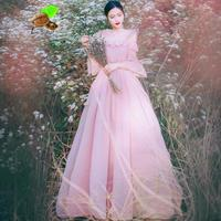 New Female Vintage Retro Bohemian Chiffon Ruffles Flare Sleeve Slash Neck Summer Long Pink Dresses Women Beach Fairy White Dress