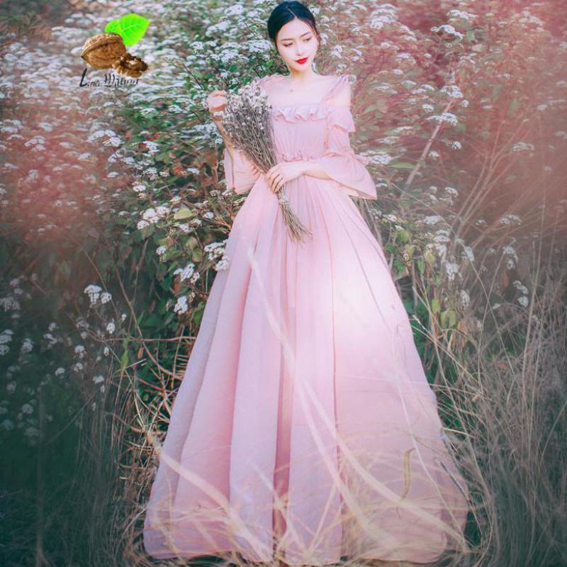 Nouvelle Femelle Vintage Rétro Bohème Mousseline de soie de Ruches Flare Manches Slash Cou D'été Longue Rose Robes Femmes Plage Fée Blanc Robe
