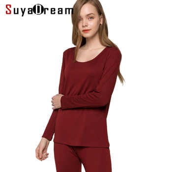 Women long johns 30%Natural silk 70%Wool Intimates suit Long sleeve sleep wear cueca 2018 FALL WINTER NEW PINK RED NUDE