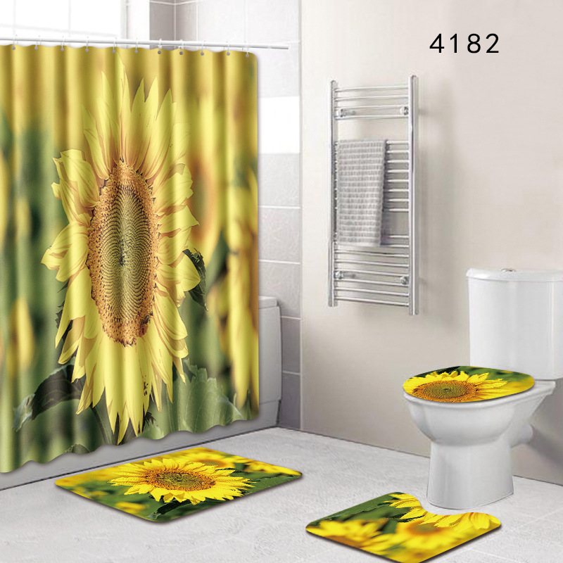 sunflower printed Shower Curtains Set Polyester Bathroom Curtain 180x180cm With Bathroom Mat Set|Shower Curtains| |  - title=