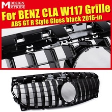 W117 GTS Style Grille ABS Glossy Black For CLA-Class CLA180 CLA200 CLA250 CLA45 Without emblem Front Bumper 2016-in