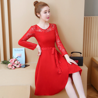 5xl plus big size women clothing 2019 spring summer style autumn korean vestidos thin red lace long pary dress female Y1640
