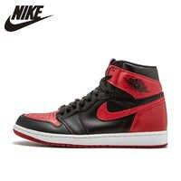 Nike Air Jordan 1 Retro Alta OG AJ1 Nero E Rosso Originale degli uomini Respirabili di Scarpe Da Basket scarpe Da Tennis di Sport #555088-001