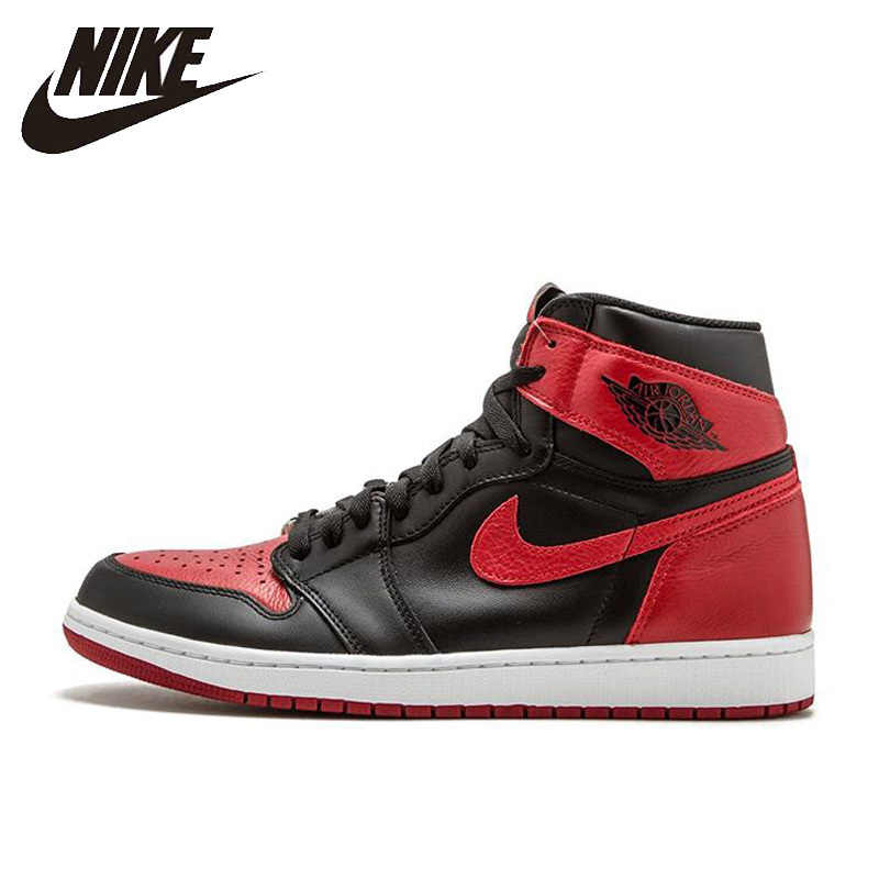 df4b9f672a52 Nike Air Jordan 1 Retro High OG AJ1 Black And Red Original Breathable Men's  Basketball Shoes