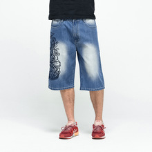 New Hip Hop Mens Baggy Denim Shorts Jeans Men Casual Embroidery Skateboard Jeans Shorts For Male Plus Size 44 46
