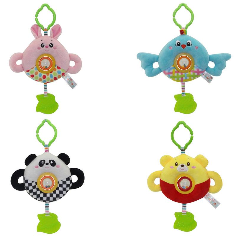 Rotated Beads Cartoon Animal Doll Baby Toy Bed Hanging Pendant Round Bed Bell Plush Rattle Easy Installed In The Baby Strollers