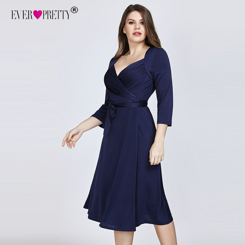 Ever Pretty Plus Size Navy Blue Cocktail Dresses 2019 A-line Knee Length Short Sleeve Chiffon Elegant Short Party Gowns EZ07669