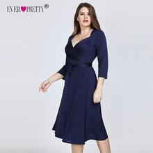 Ever Pretty Plus Size Navy Blue Cocktail Dresses 2020 A line Knee Length Short Sleeve Chiffon Elegant Short Party Gowns EZ07669
