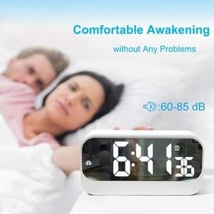 Image 3 - Réveil numérique Led, horloge Led avec Surface miroir réglage de lalarme luminosité réglable affichage des secondes, alarme de chevet