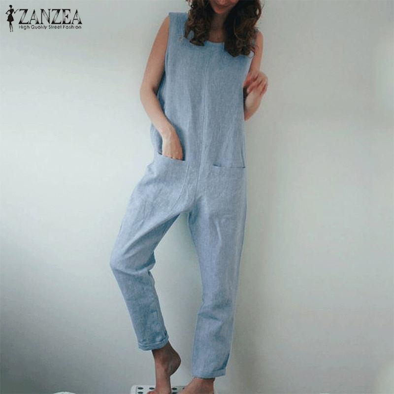 2020 Fashion Rompers Women Jumpsuit ZANZEA Ladies Overalls Vintage Long Dungarees Jumpsuits Cotton Linen Long Pants Playsuit