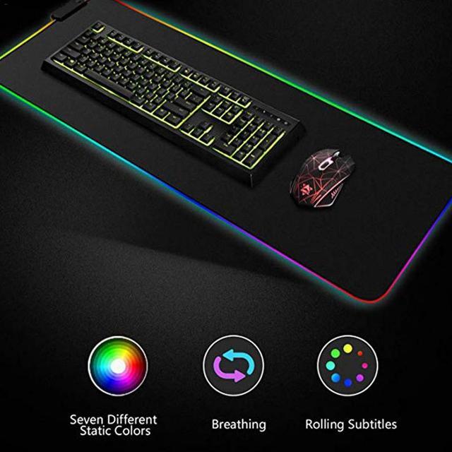 Светящийся игровой коврик для мыши красочный негабаритный светящийся USB светодиодный Расширенный клавиатура с подсветкой PU нескользящий одеяло коврик