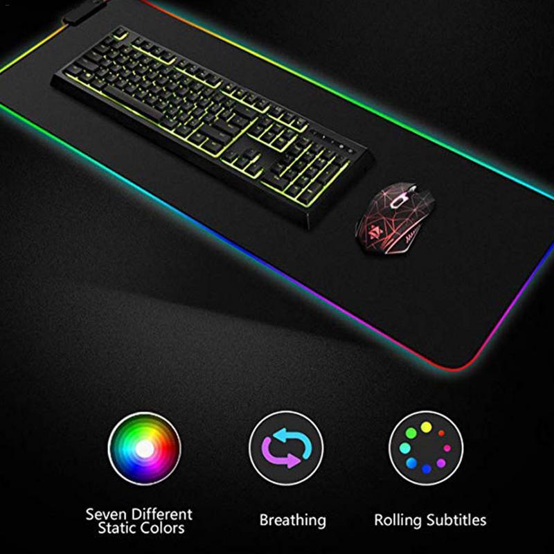 Luminosa alfombrilla para ratón de juegos de gran tamaño brillante LED USB extendido teclado iluminado PU antideslizante manta Mat